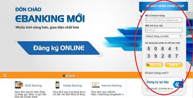 Internet banking Đông Á 3