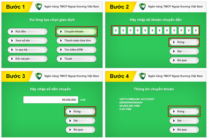Cách chuyển tiền qua thẻ ATM Vietcombank trong ngân hàng