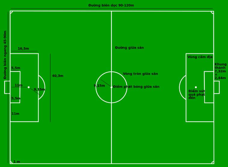 Tìm hiểu diện tích sân bóng đá 11 người